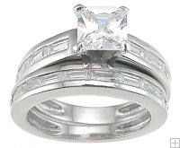 Womens Size 8 Silver Wedding Rings Princess Cut Cubic Zirconia
