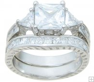Antique Style Princess Cut CZ Cubic Zirconia Wedding Set