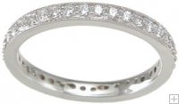Stackable Sterling Silver CZ Eternity Band Wedding Ring