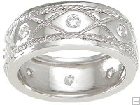 Scrolled Cubic Zirconia Wedding Band Ring SIZE 11