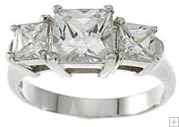 Three Stone Cubic Zirconia Engagement Anniversary Ring