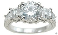 Three Stone CZ Engagement Ring Round Princess Cut Silver