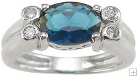 Sterling Silver Ring Dark Blue Topaz CZ Stone