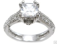 Antique Style Princess Cut Cubic Zirconia Engagement Ring