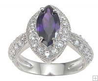 Cubic Zirconia Ring Amethyst Stone Set in Silver