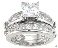 Womens Size 6 Silver Wedding Bands Modern CZ Ring Set Princess