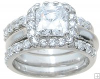 Halo Trio Band Cubic Zirconia Wedding Engagement Ring Set