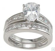 Affordable CZ Wedding Band Set Cubic Zirconia with Pear Stone