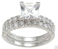 Princess Cut Cubic Zirconia Engagement Ring Silver Wedding Set