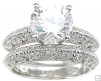 Womens Size 8 Vintage Style Cubic Zirconia Wedding Ring Set