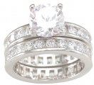 Cubic Zirconia CZ Engagement Wedding Ring Set SIZE 5