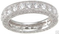 Vintage Sterling Silver Wedding Band Eternity Anniversary Ring