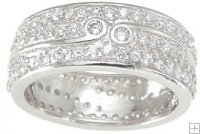 Wide Sterling Silver Wedding Band Ring with Pave Accents