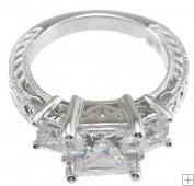 Size 7 Cubic Zirconia Engagement Ring Princess Cut 3 Stone