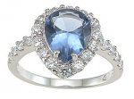 Size 6 Light Blue Topaz Cubic Zirconia CZ Sterling Silver Ring