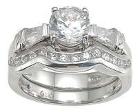 Size 9 Sterling Silver Cubic Zirconia Wedding Ring Set