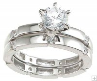 CZ Wedding Engagement Ring Set Half Carat Round Solitaire