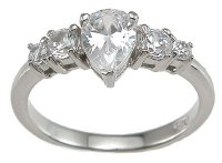 Size 7 Pear Shaped Cubic Zirconia Engagement Ring Solid Sterling