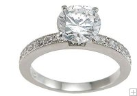 Cubic Zirconia Engagement Ring Round Solitaire