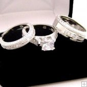 His and Her Wedding Bands Princess Cut Engagement Band Set