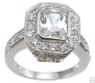 Princess Cut Halo Antique Cubic Zirconia Engagement Ring