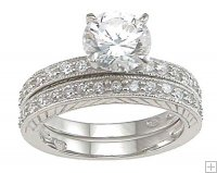 Womens Size 8 CZ Wedding Ring Set Traditional Silver Bands