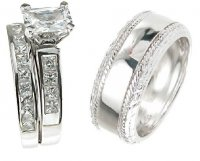 His and Her Wedding Set CZ Stones in Sterling Silver