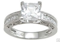 Traditional Cubic Zirconia Engagement Ring Princess Channel Set
