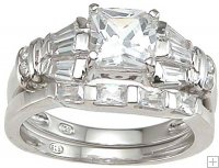 CZ Engagement Ring with Wedding Band Set Princess Cut
