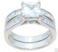2 Carat Princess Cubic Zirconia Wedding Engagement Ring Set