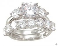 Three 3 Stone Cubic Zirconia CZ Wedding Set w/ Engagement Ring