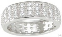 Sterling Silver Wedding Band Eternity Ring with Pave CZ's