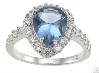 Cubic Zirconia Ring in Sterling Silver Blue Topaz CZ