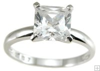 Size 6 1 Carat Princess Cubic Zirconia Engagement Ring 925 Silve