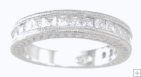 Scrolled Antique Style Cubic Zirconia Wedding Band