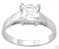 Princess Cut Cubic Zirconia Engagement Ring