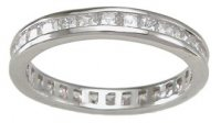 Sterling Silver CZ Wedding Band Eternity Anniversary Ring