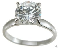 CZ Engagement Ring 1 Carat Round Center Stone Size 5 6 7 8 9