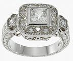 Antique Style Cubic Zirconia Sterling Silver Engagement Ring