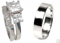 Princess Cut His and Hers Matching Wedding Ring Band Set