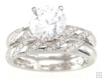 Cubic Zirconia CZ Engagement Wedding Ring Set with Pave