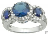 Cubic Zirconia Sapphire Three Stone Engagement Anniversary Ring