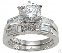 CZ Wedding Ring Set Solitaire Baguette Sterling Silver Band