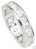 Sterling Silver Eternity Wedding Band Ring