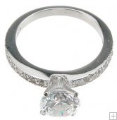 Size 9 Cubic Zirconia Engagement Ring Round Solitaire