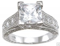 Princess Cut Sterling Silver Cubic Zirconia Engagement Ring