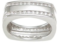 Modern CZ Cubic Zirconia Wedding Band Ring SIZE 8