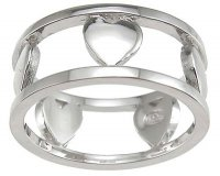 Size 5 Solid .925 Designer Quality Sterling Silver Heart Ring