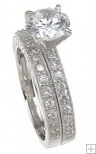 Cubic Zirconia Wedding Rings CZ Traditional Sterling Silver