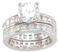 Cubic Zirconia CZ Engagement Wedding Ring Set Size 8